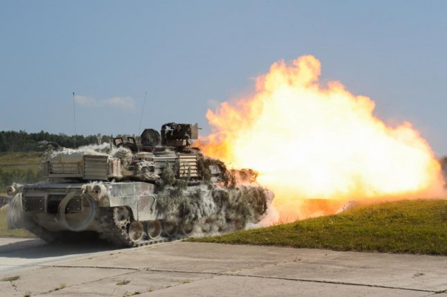 M1A2 SEP 2 Abrams main battle tank firing it's 120mm gun during a training exercise in Germany. U.S. Army photo