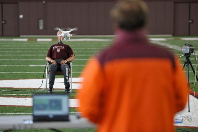 To measure the risks of commercial drone use, researchers flew several models into the head of a crash-test dummy. Photo by Virginia Tech Mid-Atlantic Aviation Partnership/Institute for Critical Technology and Applied Science