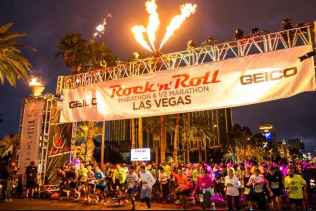Last year's Rock 'n' Roll Las Vegas Marathon starting line was located near the Mandalay Bay Resort & Casino. This weekend's race will start in front of New York-New York casino. Photo courtesy of Rock 'n' Roll Las Vegas