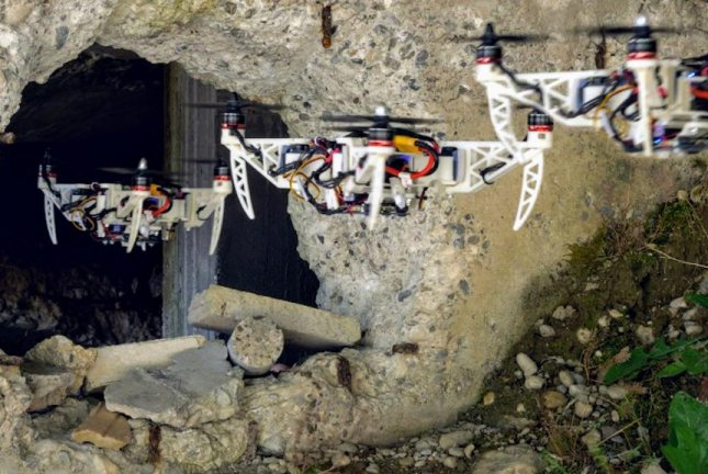 Researchers designed a drone capable of folding its arms into a variety of shapes, allowing the craft to shrink its footprint and fit through tight spaces. Photo by UZH