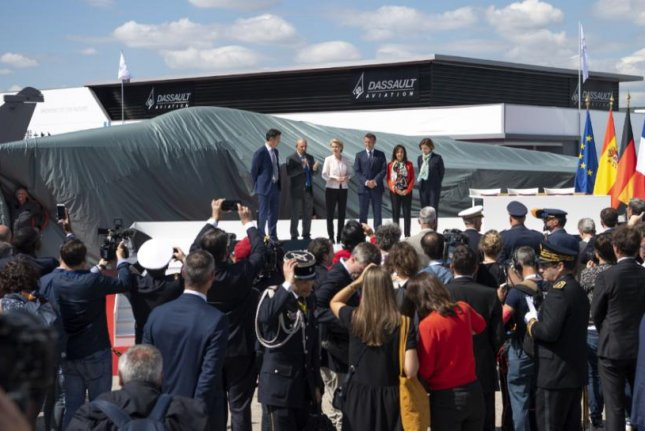A mockup of a French-German-Spanish-built fighter plane was exhibited at the 2019 Paris Air Show. Photo courtesy of Airbus Industries