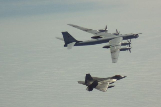 A NORAD F-22 fighter plane intercepts a Russian bomber off the Alaskan coast. Photo courtesy of NORAD/Twitter