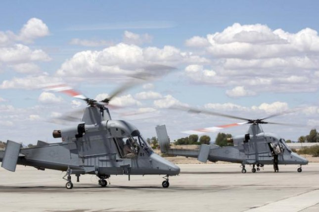 Optionally piloted K-MAX helicopters at a Marine air station in Arizona. U.S. Marine Corps photo
