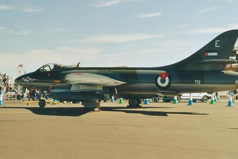 A Hawker Hunter F58 fighter plane of the Royal Jordanian Air Force. CC/ wikimedia.org/ Alan D.R. Brown