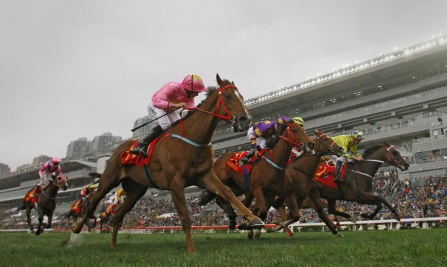 Sun Jewellery, with Ryan Moore up, reaches for the wire in Sunday's Hong Kong Classic Cup at Sha Tin. (HKJC Photo)