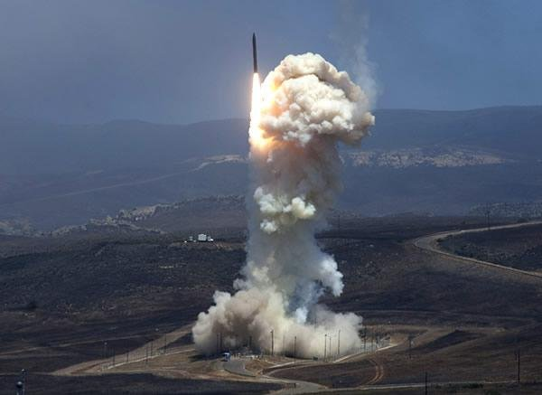 A Ground-Based Interceptor launches carrying a Raytheon-built Exoatmospheric Kill Vehicle on June 22, 2014. The kill vehicle destroyed a simulated ballistic missile over the Pacific Ocean. U.S. Missile Defense Agency photo