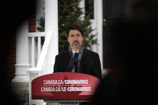 Canadian Prime Minister Justin Trudeau speaks to the Canadian people outside of Rideau Cottage in Ottawa where he has been quarantined since March 12. Photo courtesy of Prime Minister Justin Trudeau