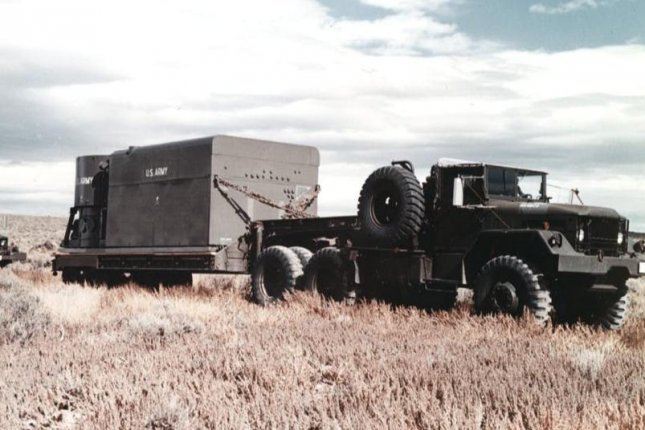 An Army truck transports an ML-1 nuclear reactor during a test of portable nuclear reactors in the early 1960s. Photo courtesy of U.S. Army