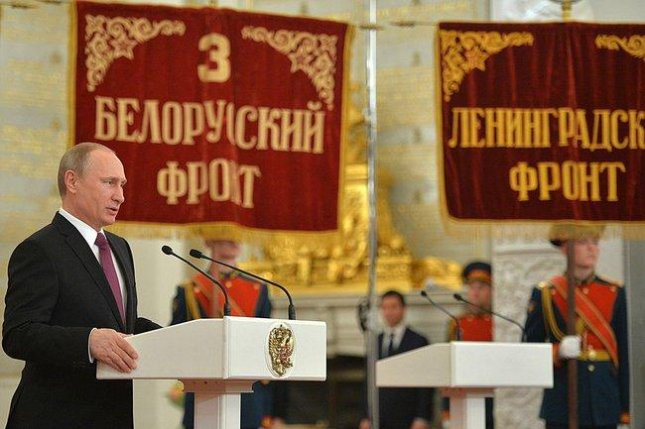 Russian President Vladimir Putin, addressing war veterans in Moscow in February (CC/ Russian Presidential Press and Information Office)