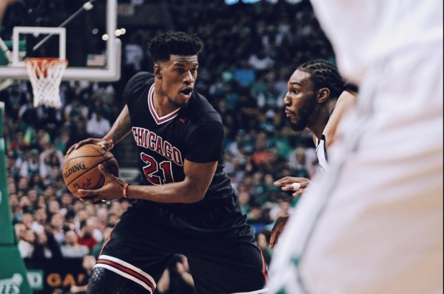 Jimmy Butler's strong fourth quarter lifted the Bulls past the Celtics in Game 1 of their series. Photo courtesy Chicago Bulls via Twitter.