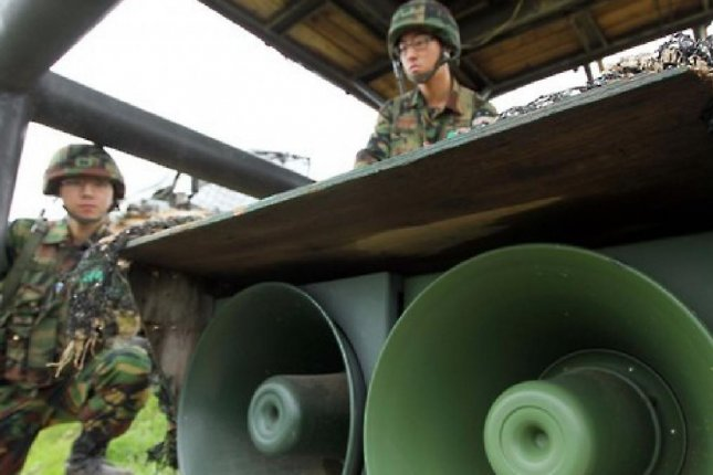 South Korean soldiers preparing loudspeakers for a propaganda campaign against North Korea. Seoul is to use defector stories as part of its campaign, and North Korea has vowed retaliation. Photo by Yonhap