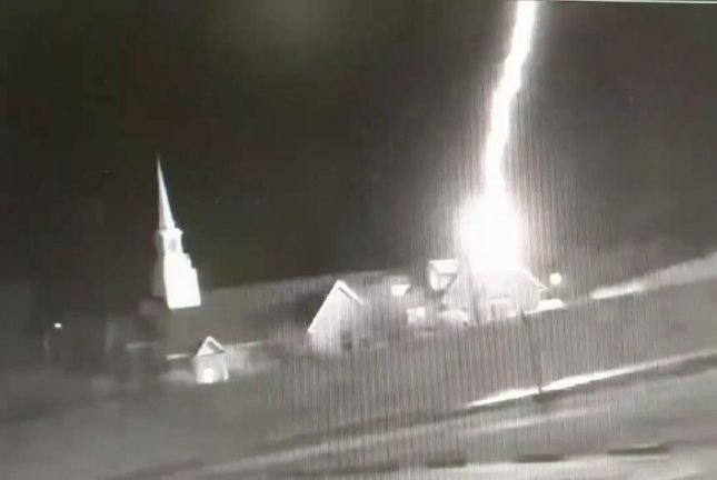 A Georgia church takes a direct hit from a bolt of lightning. Screenshot: Hayes Shutters/Facebook