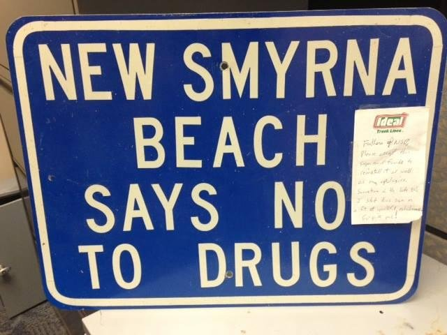This sign was stolen from New Smyrna Beach, Fla., sometime in the late 1980s and was returned in the mail recently with an apology note and $50. Photo by the New Smyrna Beach Police Department/Facebook