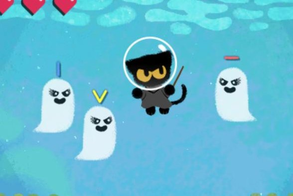 Google has released a new Halloween game featuring magical cat Momo in the latest Doodle. Image courtesy of Google