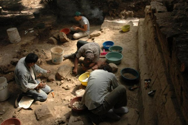 Archaeologists dig for artifacts at the royal palace of Ceibal, a Mayan archeological site in central Mexico. Photo by Takeshi Inomata/University of Arizona