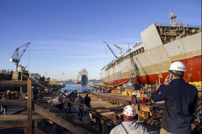 General Dynamics NASSCO launched the future USNS John Lewis oiler this week. Photo courtesy General Dynamics NASSCO