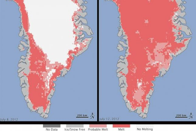 Greenland experienced record-breaking melting during the summer of 2012, which researchers say had a lasting effect on the island's ice sheet. Photo by NASA Goddard Space Flight Center