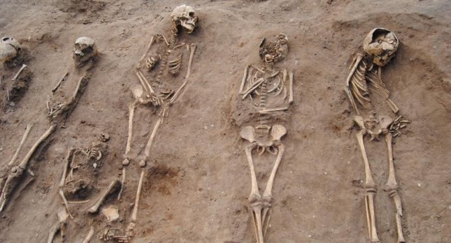 A total of 48 skeletons have been recovered from the Lincolnshire plague pit, 27 of them children. Photo by University of Sheffield
