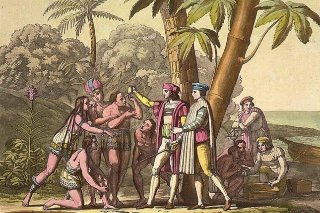 An illustration shows Christopher Columbus encountering a group of native people in the Bahamas. Photo by the Library of Congress