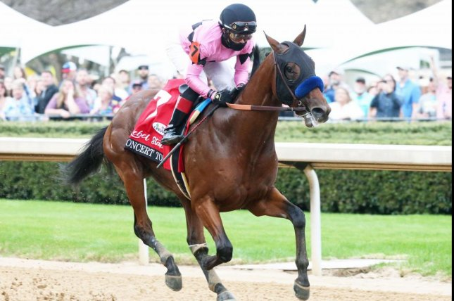 Concert Tour, shown winning the Rebel Stakes earlier in the meeting, is the favorite for Saturday's $1 million Arkansas Derby. Photo courtesy of Oaklawn Park