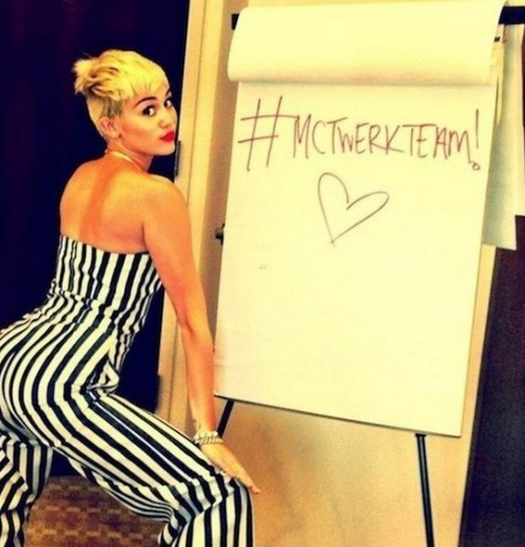 Miley Cyrus posted a photo of herself twerking and offered fans the hashtag #MCTwerkTeam. (Photo via Twitter/Miley Cyrus)