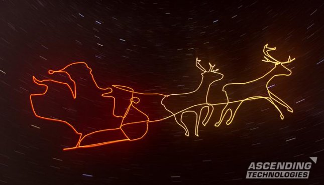 German technology company Ascending Technologies created the world's first drone light painting video entitled The Christmas Edit using an AscTec Falcon 8 UAS drone. Photo by Ascending Technologies/asctec.de
