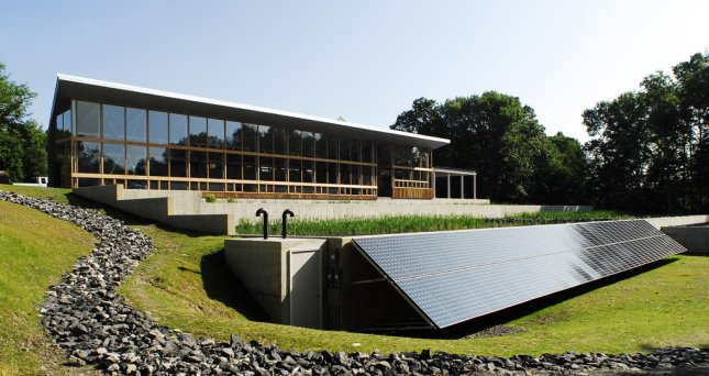 RHINEBECK, N.Y. (UPI) -- The $3.5 million Omega Center for Sustainable Living at the Omega Institute for Holistic Studies in Rhinebeck, N.Y., which includes constructed wetlands and solar panels, may become the world's first living building. (NXP07170901)