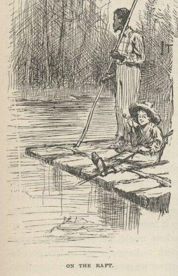 Huckleberry Finn and Jim on a raft from the 1884 edition of Huckleberry Finn.