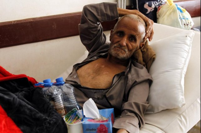 A cholera-infected Yemeni receives treatment at a hospital amid a serious cholera outbreak in Sanaa, Yemen, on Friday. The World Health Organization said Saturday that the country now has more than 200,000 suspected cases of cholera. Photo by Yahya Arhab/EPA