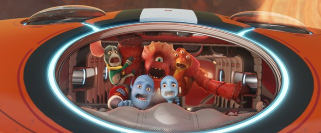 Image of Escape from Planet Earth characters Doc [played by Craig Robinson], Io [played by Jane Lynch], Thurman [played by George Lopez], Scorch Supernova [played by Brendan Fraser] and Gary Supernova [played by Rob Corddry,] courtesy of The Weinstein Co.