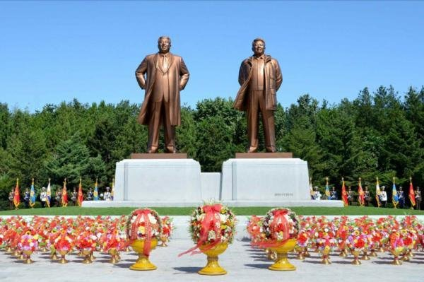 This photo, released by Korean Central News Agency, shows statues of North Korea's founder, Kim Il Sung, and his son and successor, Kim Jong Il. North Korea's Constitution guarantees religious freedom, but in practice the state does not tolerate religious or political differences. File Photo by Rodong Sinmun/Yonhap