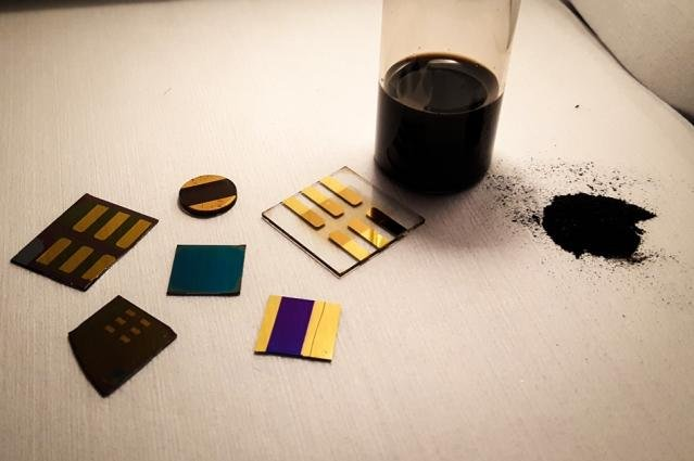 Researchers at MIT used thin films formed from coal powder solutions to create electronic components. Photo by Jeffrey Grossman/MIT News