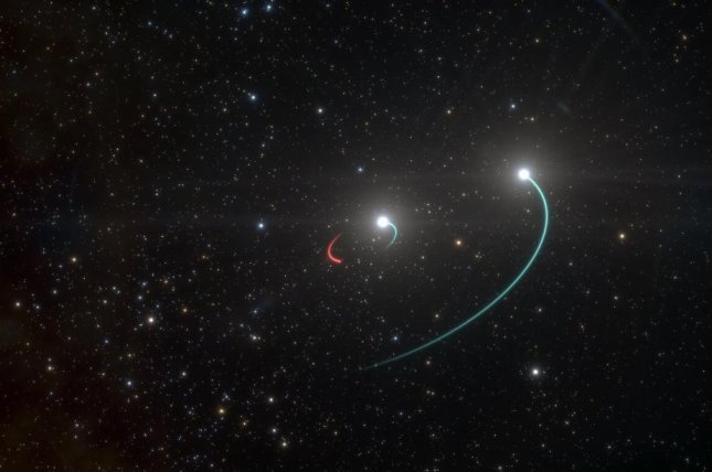 An artistic rendering shows a star system centered around a totally invisible black hole. Photo by ESO