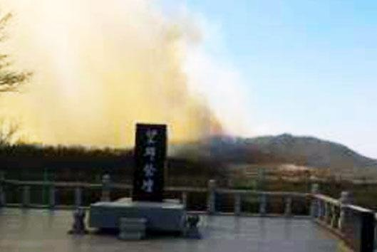 A fast-traveling fire that began in North Korea could be seen from an observatory near the Korean Demilitarized Zone near Paju, South Korea. The fire was contained after helicopters and hundreds of emergency personnel were deployed from South Korea. Photo by YTN/Yonhap