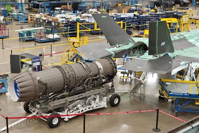 An F135 engine waits to be mounted on an F-35 fighter. Pratt & Whitney/Lockheed Martin photo