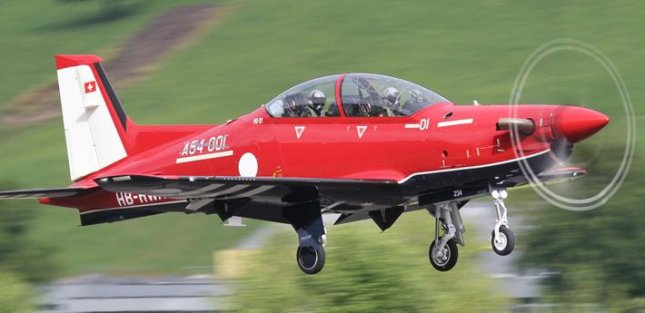 The first of Pilatus Aircraft's 49 PC-21s for Australia's military completed its initial production test flight out of the company's Stans, Switzerland, factory, the company announced Thursday. Photo courtesy Pilatus
