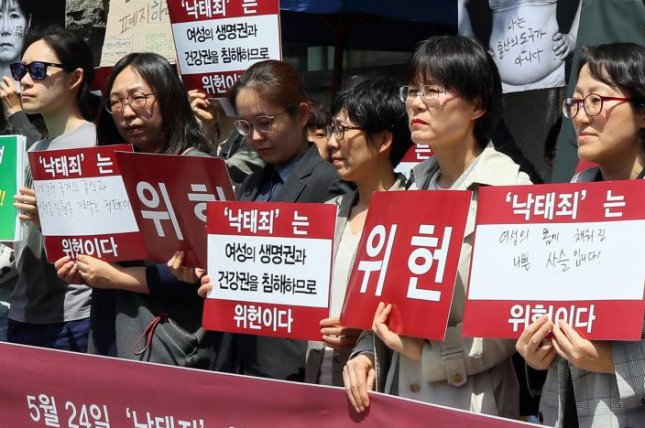 Members of a pro-choice civic body rally in front of the Constitutional Court in Seoul last May. Their signs read it is unconstitutional to criminalize abortion in the country. File Photo by Yonhap/EPA-EFE