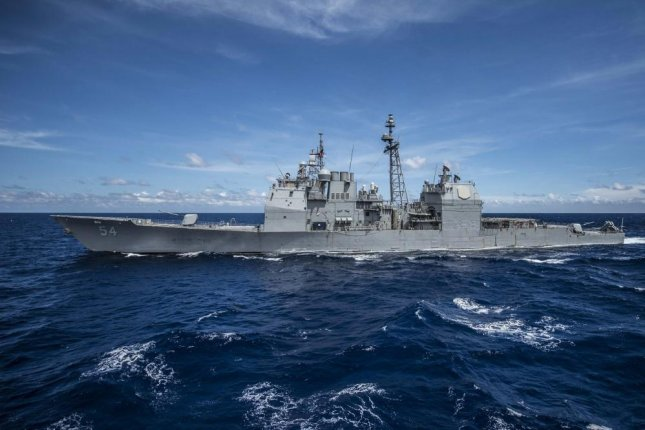The Ticonderoga-class guided-missile cruiser USS Antietam is on patrol in the U.S. 7th Fleet area of responsibility. Photo by Bradley J. Gee/UPI