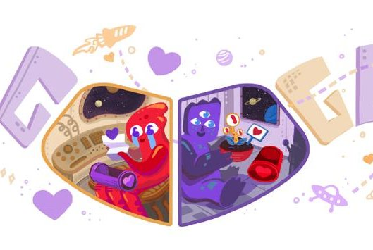 Google's new Valentine's Day Doodle features two aliens. Image courtesy of Google