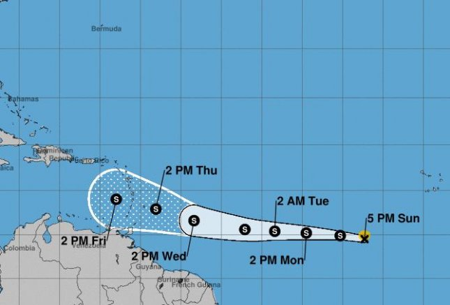The National Hurricane Center forecasts Kirk will gain faster westward motion across the deep tropical Atlantic Ocean through Tuesday but weakening is likely during the middle to latter part of the week. Image courtesy NOAA