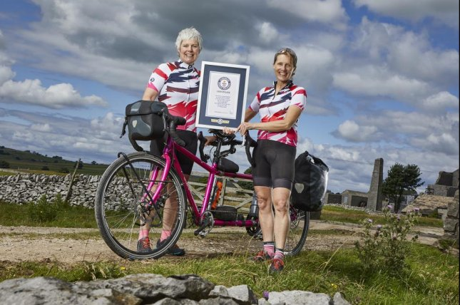 A pair of British women broke a Guinness World Record when they circumnavigated the globe on a tandem bicycle in 263 days, 8 hours and 7 minutes. Photo courtesy of Guinness World Records