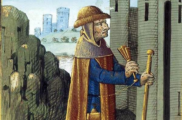 Late fifteenth century painting of a leper shaking a rattle or bell to announce his presence. Bartholomew the Englishman, France. (PD/Bibliothèque nationale de France)