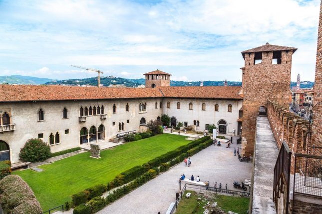 The Museo Civico di Castelvecchio, located inside the Castelvecchio Castle in Verona, Italy, was targeted by masked bandits on Thursday. Authorities said they tied up a security guard and cashier and stole at least 15 paintings worth as much as $16 million, possibly on the orders of a private collector. Photo by S-F/Shutterstock
