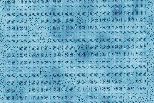 An illustration shows how the hard disk is organized, with single atoms representing bits of information. The data is organized into blocks of 64 bits. Photo by TU Delft/Ottelab