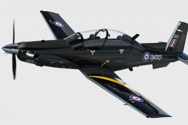 The first test of Britain's Texan T1 training aircraft was conducted Friday at the RAF Valley on the island of Anglesey, Whales. Photo courtesy of the Royal Air Force