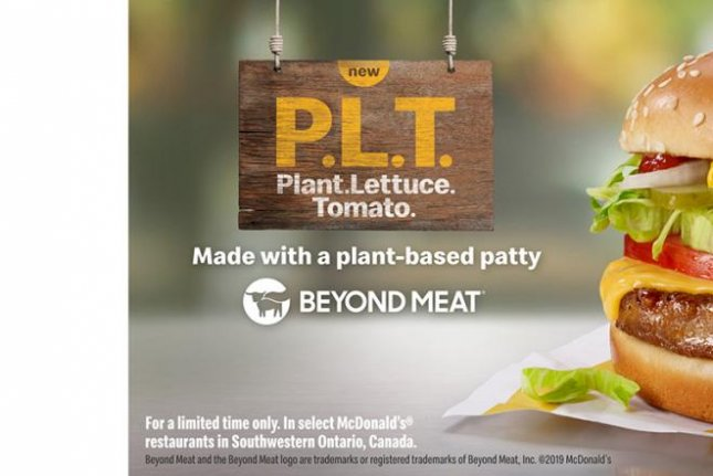 The plant-based burger shown will debut in a 12-week pilot in select markets in Ontario, Canada, September 30. Photo courtesy of McDonald's