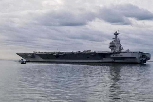 The new aircraft carrier USS Gerald R. Ford completed a pierside exercise, the U.S. Navy reported on Thursday, but problems remain and the ship will not be deployed until 2024. Photo courtesy of U.S. Navy