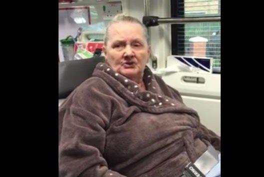 Rapping grandmother Norma Clarke spits bars for an ambulance crew in Birmingham, England. Screenshot: Jordan Lynam/Facebook video