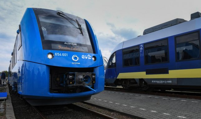 The world's first hydrogen-powered fuel cell train arrives in Bremervoerde, northern Germany, on Sunday. Photo by David Hecker/EPA-EFE