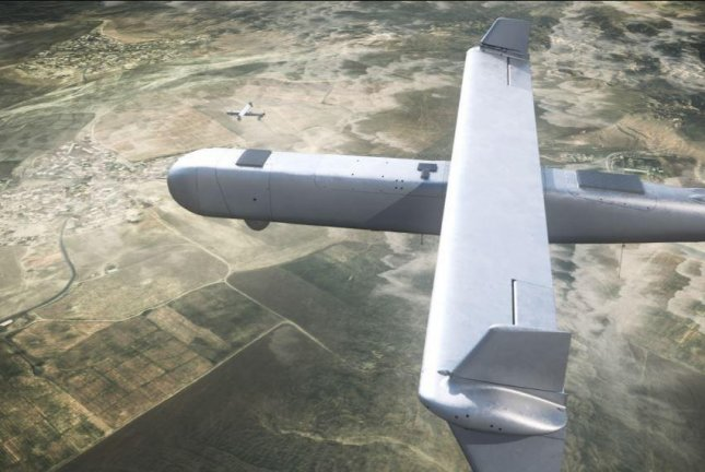 Israel Aerospace Industries unveiled its new Mini Harpy loitering drone missile at the Aero India Show in Bangalore on Wednesday. Photo courtesy of IAI